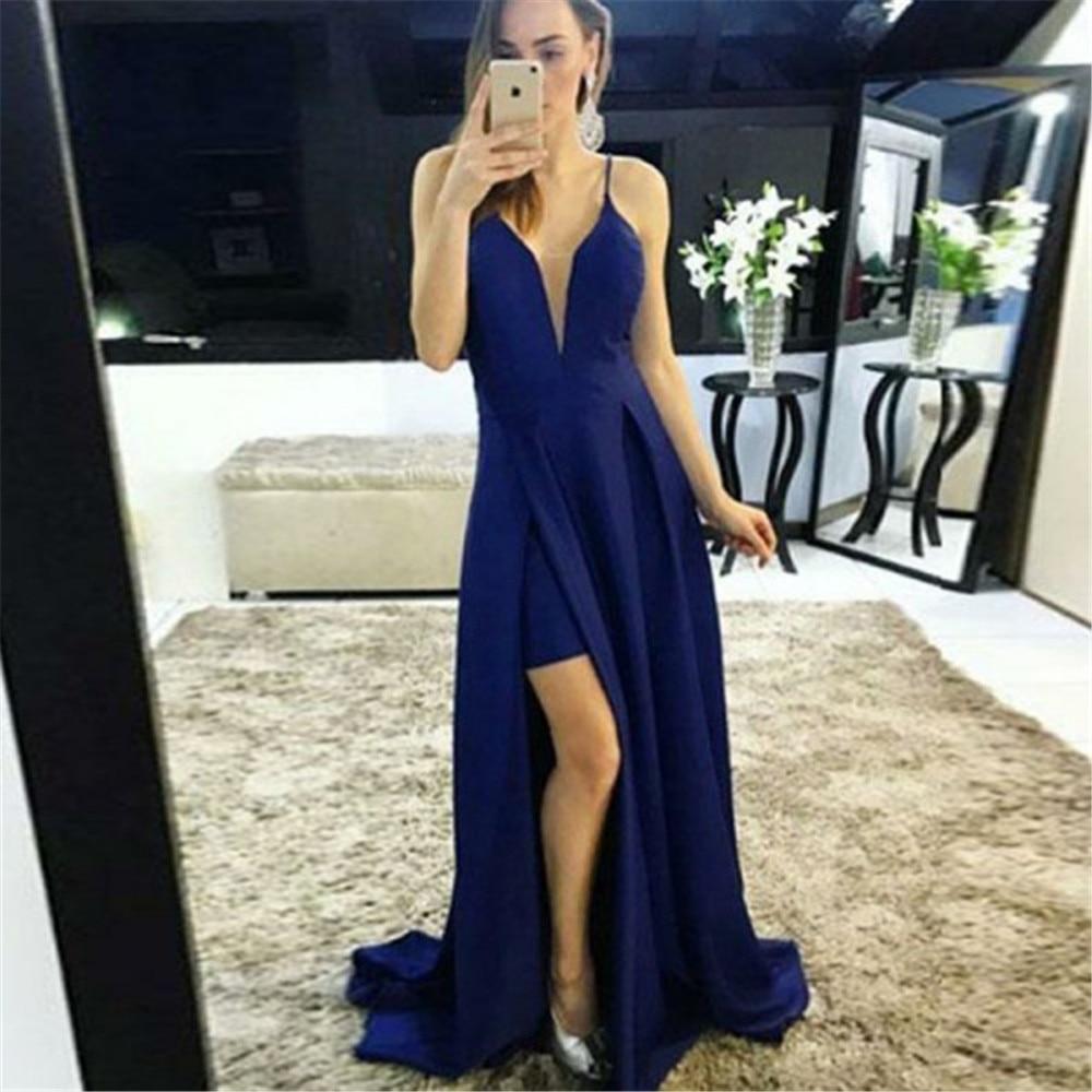 Elegant Royal Blue Long   Bridesmaid     Dresses   Side Split Spaghetti Strap A Line Elastic Satin Sexy Women Wedding Party Gowns Cheap