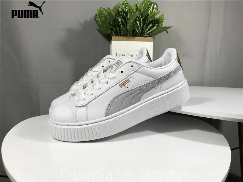 1b7059c78f64 2018 PUMA Basket Platform Wn Badminton Shoes 367850 01 Womens Trainers  Sneakers Rihanna Thick Bottom Sneakers