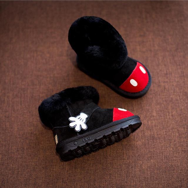 2016 Zapatos del Invierno Del Bebé Niños Niñas Niños Botas de Nieve 1-2-3 año Cuero Genuino Ovejas Bota de piel Zapatos Calientes Encantadores Niños