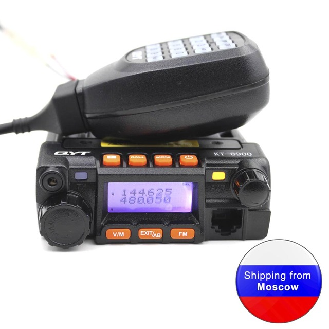Qyt kt8900 25w mini rádio transceptor uv dtmf rádio móvel kt 8900 banda dupla 136 174 & 400 480mhz walkie talkie