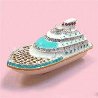 유럽 중국 스타일의 금속 에나멜 공예 럭셔리 크루즈 선박 요트 모델, 홈 데스크탑 장식 장식 장식품 (A569)