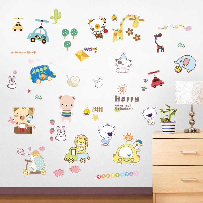 Cartoon animal paradise childhood fun wall stickers for kids room baby room super cute bear cat giraffe car decoration decals