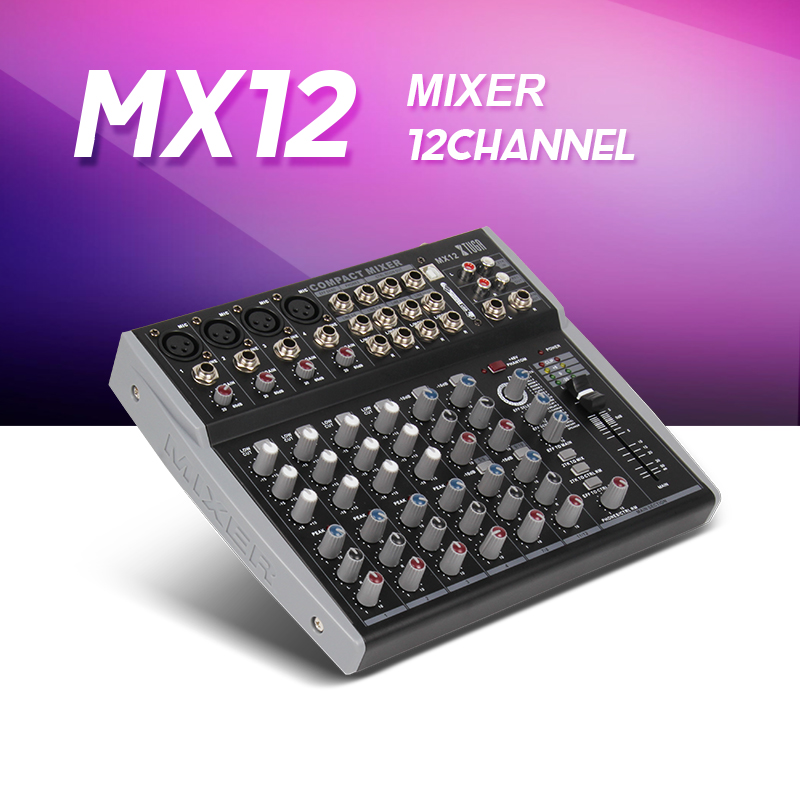 MX12Channels 3-Band EQ Audio Music Mixer Mixing Console with USB XLR LINE Input 48V Phantom Power for Recording DJ Stage Karaoke 8 channel professional audio mixer digital dj karaoke mp3 music sound usb equipment mixing console 48v phantom power amplifier