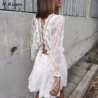 2017 Spring Long Sleeve White Embroidery Lace Mini Dress Backless Cute Mini Lace Short Women Dress