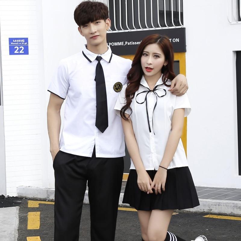 Teenager College School Uniform Short Sleeve Female Pleated Skirt Student School Uniform Couple Shirt JK Uniform Suit D-0202