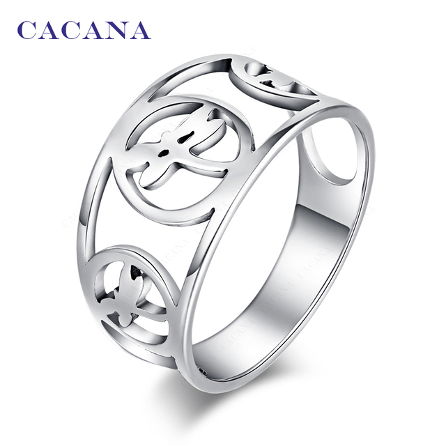 CACANA Titanium Stainless Steel Rings For Women With Three Dragonfly Fashion Jew