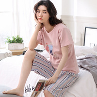 Unicorn Pajamas Sleepwear Summer Cotton Short Sleeve Cute Cartoon Korean Seven cent Pants Home Two piece Clothing Wholesale