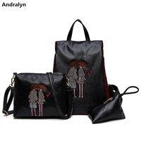 Fashion Lover S Image Embroidering 3Pcs Set Women Leather Messenger Tote Bag Retro Flap Shoulder Bag