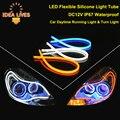 DC12V IP67 à prova d' água Tubo de silicone flexível LEVOU luz Tira Luzes Diurnas Lâmpadas Turn Signal Estacionamento Estilo Do Carro