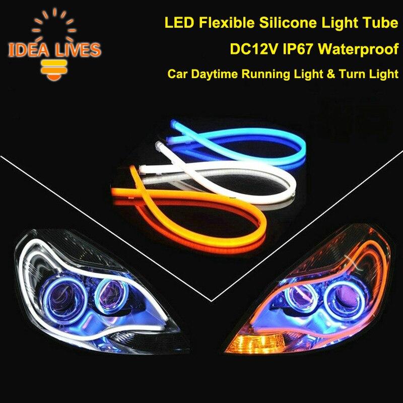 dc12v ip67 waterproof led flexible silicone light tube strip daytime running lights turn signal. Black Bedroom Furniture Sets. Home Design Ideas
