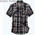 Frete grátis afs jeep marca homem ocasional de manga curta camisa dos homens camisas de algodão xadrez plus size m-3xl summer clothing 88
