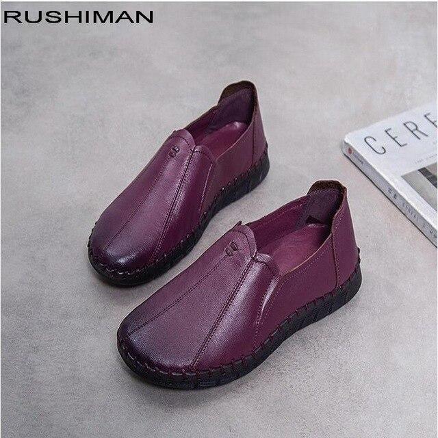 RUSHIMAN/Осенняя женская обувь из натуральной кожи на плоской подошве, женская повседневная обувь, удобные слипоны, женские мокасины