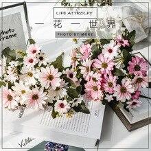 9 вилок, 25 головок, имитация герберы, декоративный искусственный цветок, Шелковый цветок, Подсолнух, букет, искусственные растения, зелень