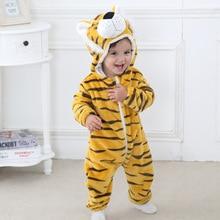 Bébé Barboteuses 2017 Garçons Filles de vêtements de Nuit Nouveau-Né Vêtements Panda de Bande Dessinée Salopette Pyjamas Chaud Mignon Animal Macacao L430