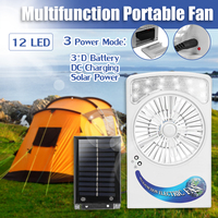Solar Power/AC Rechargeable Lighting Fan 2 in 1 System 6V 1.2W Solar Panel 12 LED Light Strong Wind Fan For Outdoor Camping