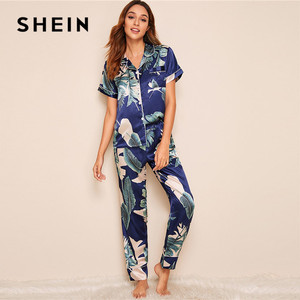 Image 4 - SHEIN Tropical Print Satin Pajamas for Women Casual Short Sleeve Pocket Sleepwear Summer Long Pants Lingerie Ladies Pajama set