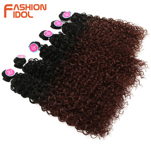 Image 4 - FASHION IDOL Afro Kinky Curly Hair Bundles Synthetic Hair Extensions Nature Color 6 Bundles 16 20inch 250g Kinky Curly Bundles