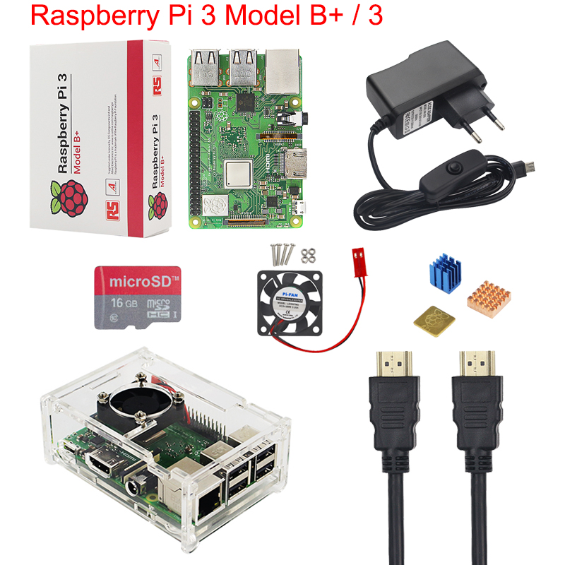 UK Raspberry Pi 3 Model B+ / 3 Starter Kit + Acrylic Case + 16 32G SD Card + Fan + Power Adapter + HDMI Cable + Heat Sink RPI 3