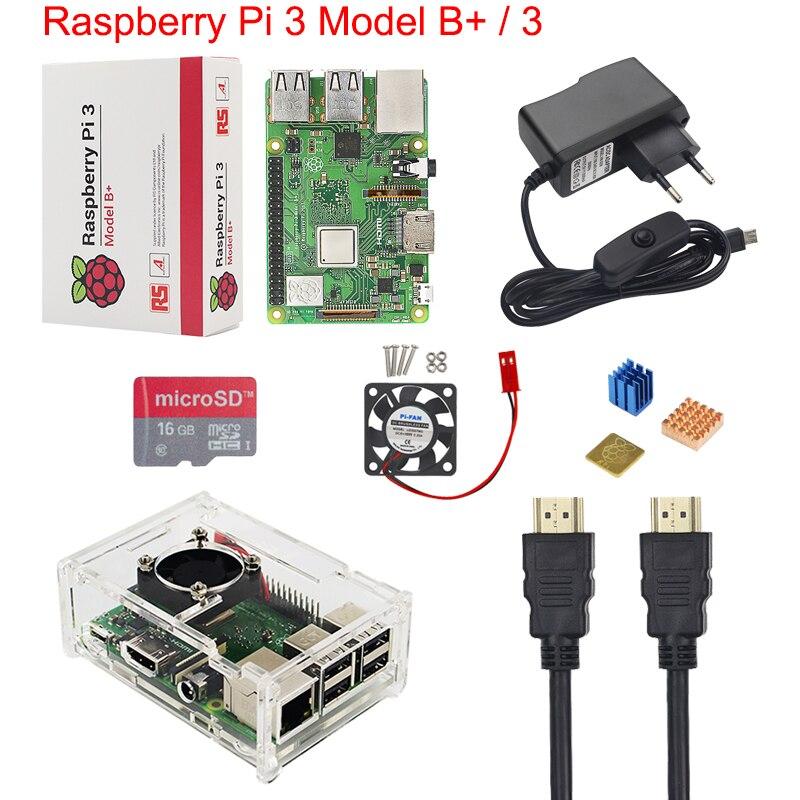 UK Raspberry Pi 3 Model B+ Starter Kit + Acrylic Case + 16 32G SD Card + Fan + 2.5A Power Adapter + HDMI Cable + Heat Sink RPI 3
