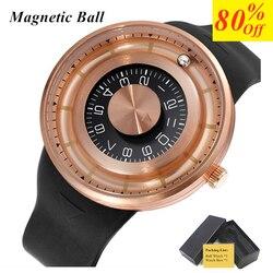 Kulka magnetyczna Wrist Watch męskie zegarki Top marka luksusowe kreatywny obrót Dial silikonowy wodoodporny Sport zegarek kwarcowy na co dzień