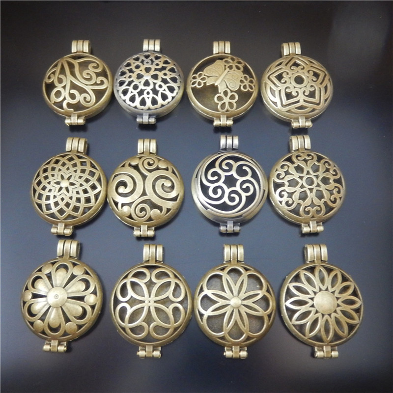 12pcs Men Women Antique Bronze Funny Pendant Necklace Wedding Anniversary Business Party Oil Diffuser Jewelry Accessary 12 Type