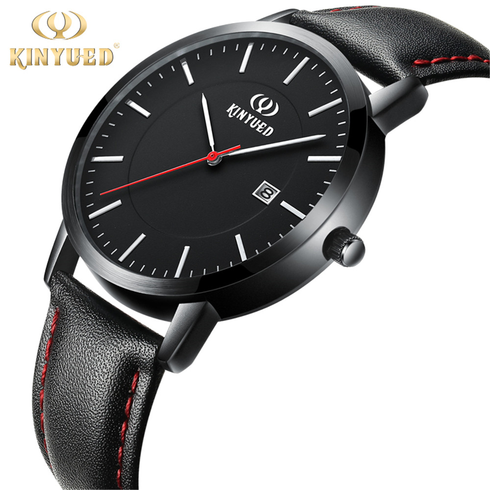 2017 KINYUED Fashion Casual Mens Watches Top Brand Luxury Leather Business Quartz-Watch Men Wristwatch Relogio Masculino bewell fashion casual mens watches top brand luxury wood case leather band quartz watch men relogio masculino wristwatch 1051a