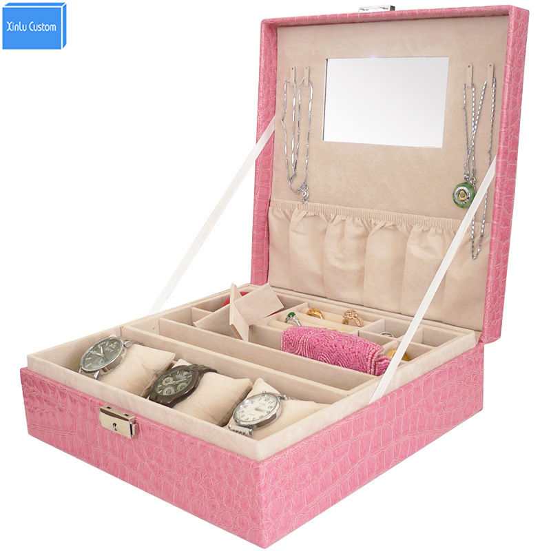 Home&Office Storage Leather Gift Watch Women Box Collect Jewelry Makeup Mirror Storage Drawers Holders&Rocks Case Box Wholesale cute cat pen holders multifunctional storage wooden cosmetic storage box memo box penholder gift office organizer school supplie