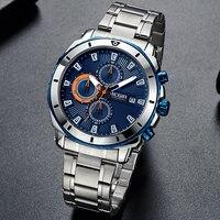 Saatler'ten Kuvars Saatler'de MEGIR erkek Üst Marka Moda Iş Tam Çelik Kayış Erkekler Kuvars Saatı Su Geçirmez Erkek Spor Saatler Relogio Masculino