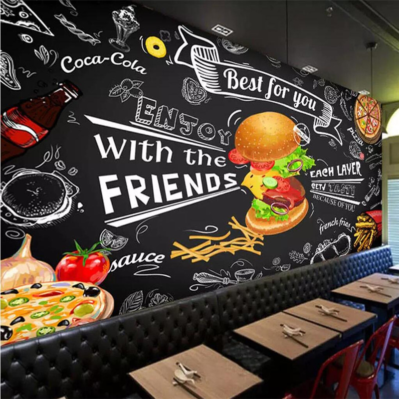 Hand-painted Burger Fast Food Restaurant Snack Bar Background Wall Paper Mural Home Decoration Custom Photo Wallpaper