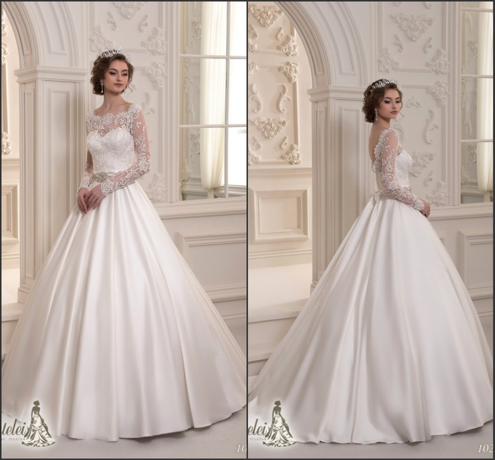 2015 latest long sleeves low back lace top satin skirt for Best lace wedding dresses