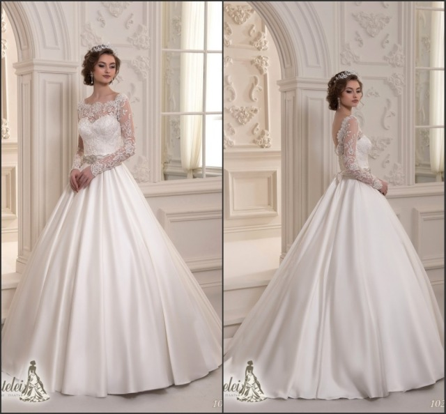 2015 Latest Long Sleeves Low Back Lace Top Satin Skirt Wedding Dress