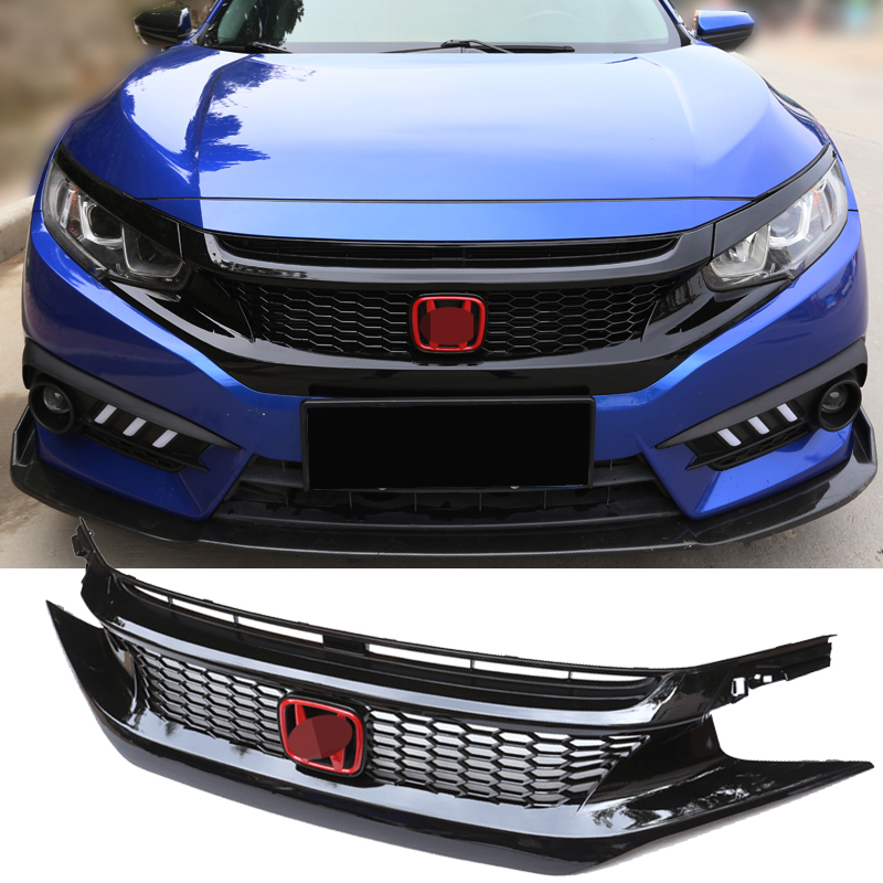 Car Styling Front Grille For Honda Civic 2016 2017 10th Gen Abs Black Chrome Racing Grill Auto Accessories 1 Set