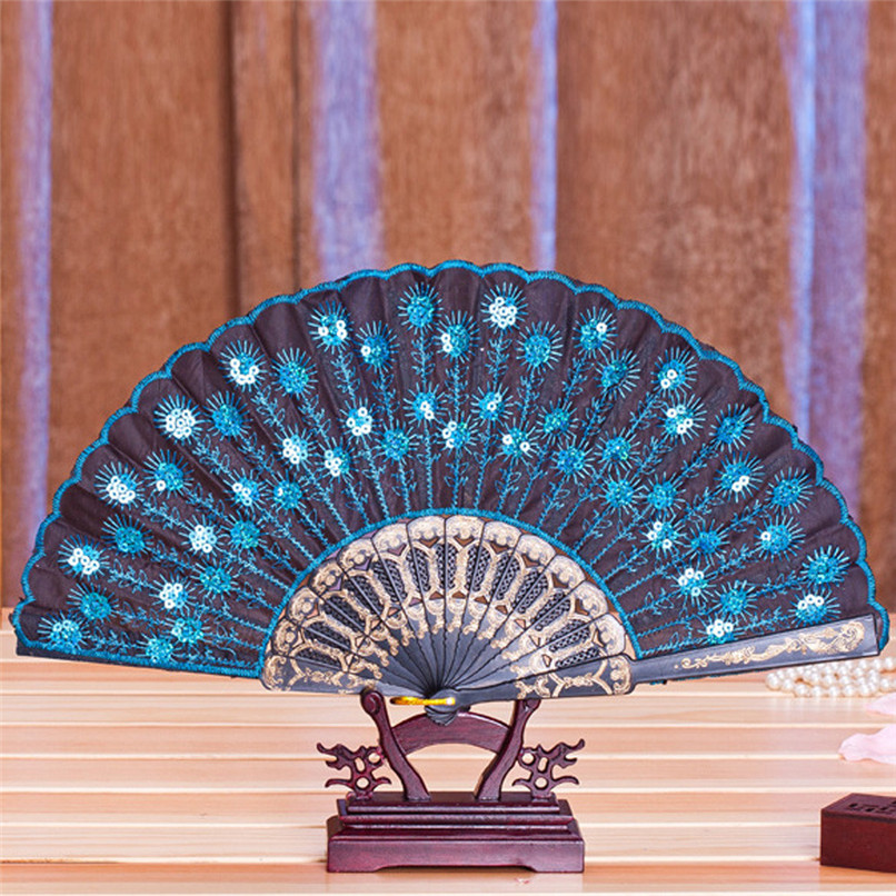 1PC Hand Fans Folding Peacock Pattern Embroidered Sequin Hand Held Chinese Fan Wedding Favors and Gifts abanicos de mano J14#3 (9)