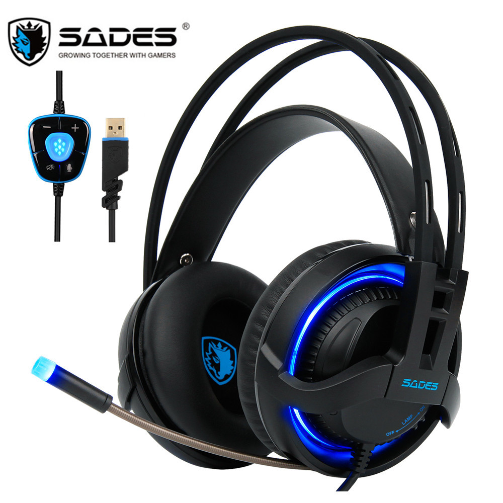 SADES R2 USB 7.1 Channel Gaming Headphones Computer Game Headset Stereo Bass Earphones with Mic Breathing LED Light For PC Gamer sades a6 computer gaming headphones 7 1 surround sound stereo over ear game headset with mic breathing led lights for pc gamer