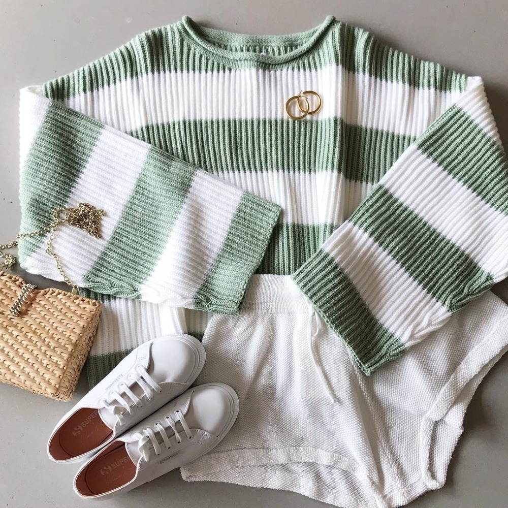 Fitshinling Striped Loose Ladies Sweater Pullover 19 Autumn Winter New Arrival Green Jumpers Knit Sweaters Women Pull Femme 11