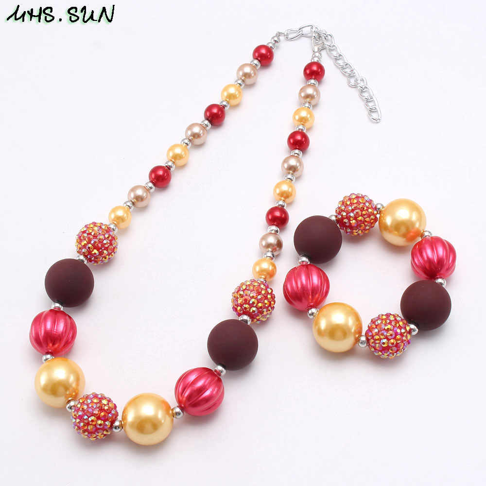 MHS.SUN 1PC Baby Fashion Chunky Beads Necklace & Bracelets Girls Children DIY Bubblegum Jewelry Necklace For Thanksgiving Gift