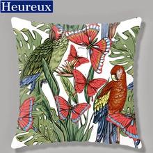 Bird flower cushion cover european style pillow case 45*45 thick pillow cover 3D print decorative pillows cotton kussenhoes floral bird print decorative pillow case