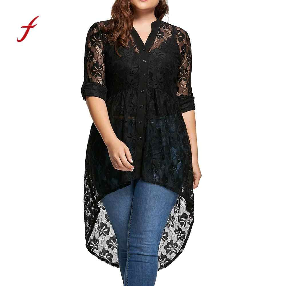 Plus Size Solid Top Blouse Vrouwen V Hals Lange Mouw Kant Overhemd Perspectief Button Up Blouse Losse Casual Vrouwelijke Tops/Py