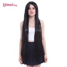 L e mail peruca nova mulher 100cm cosplay perucas longa reta preto fibra de alta temperatura peruca de cabelo sintético perucas cosplay