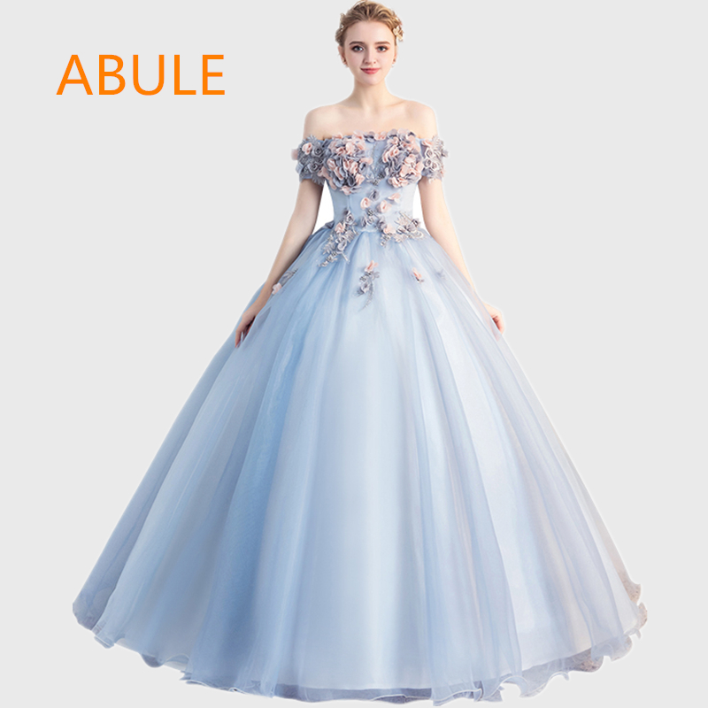f0a71ea0b87 ABULE Quinceanera Dresses srtapless lace up ball gown prom dress flower Debutante  Gown 15 Years Layer