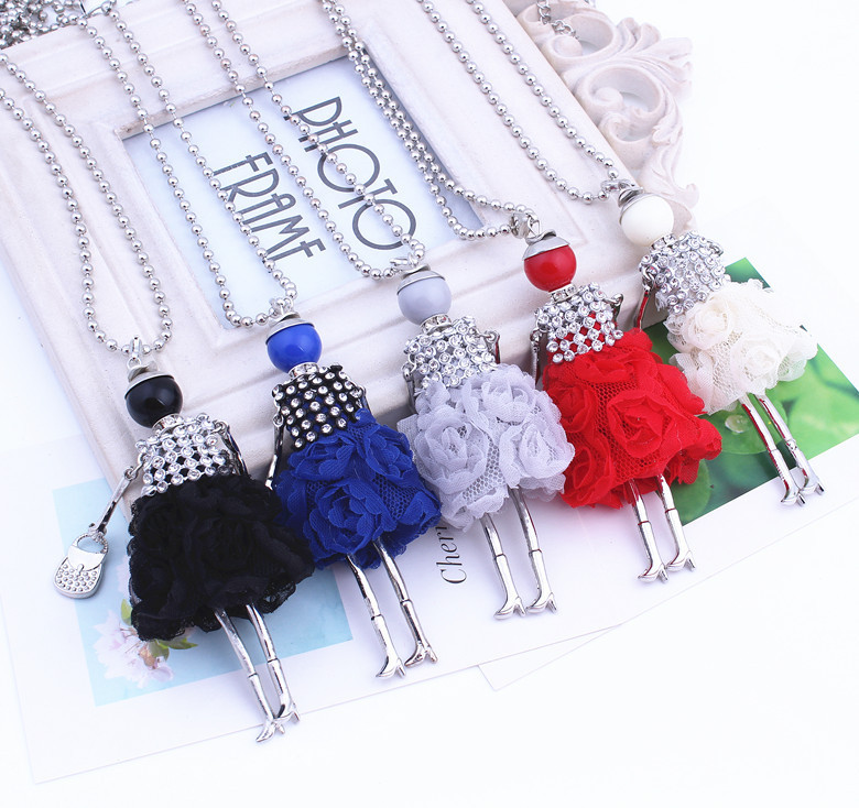 New Wholesale Long Necklace Sweater Chain Jewelry Skirt Girl Doll Pendant Charm Small Girls Fluffy Rhinestone Necklace Women