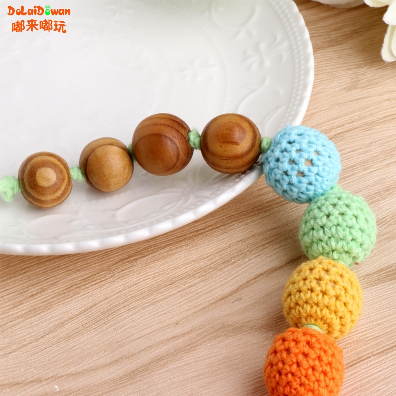 Wood Teething Nursing Breastfeeding Necklace Beads Baby Chew Teether Toy Jewelry