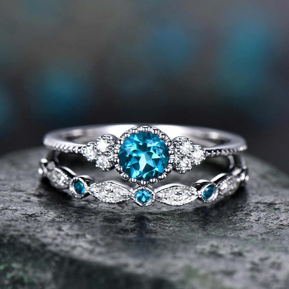 3 สี Stackable แหวนคู่ชุดผู้หญิง 925 เงินรอบสีเขียว Blue Zircon แหวนหมั้นหินหญิง Birthstone แหวน