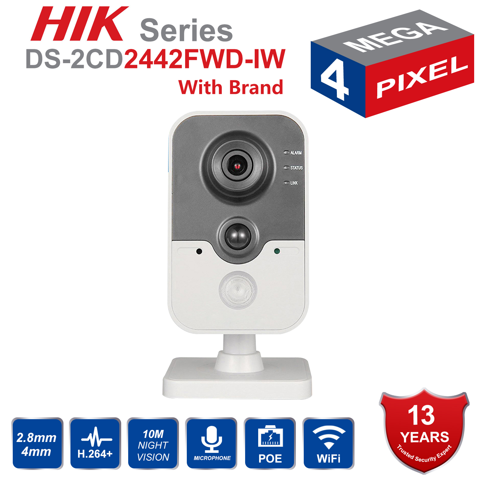 Original HIK Wireless Security Camera DS-2CD2442FWD-IW poe IP camera onvif Indoor 4MP IR Cube WiFi beveiligings camOriginal HIK Wireless Security Camera DS-2CD2442FWD-IW poe IP camera onvif Indoor 4MP IR Cube WiFi beveiligings cam
