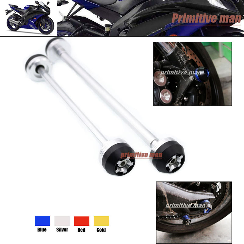 ФОТО For YAMAHA YZF R6 YZFR6 YZF-R6 2006-2007 Motorcycle  Front & Rear Axle Fork Crash Sliders Wheel Protector Silver