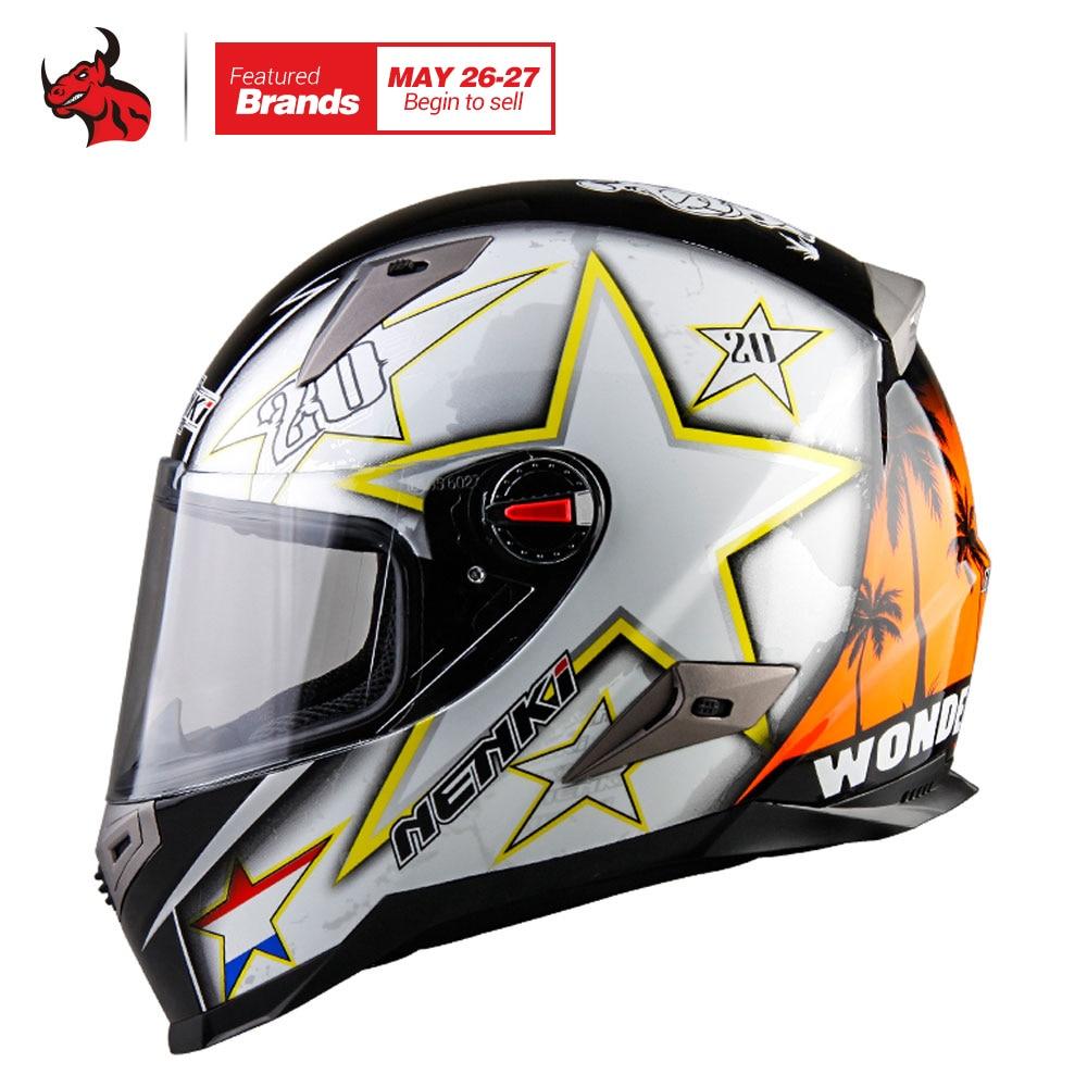 NENKI Motorcycle Helmets With ECE Certification Motocross Racing Helmet Motorbike Full Face Helmet Capacete De Moto 1000m motorcycle helmet intercom bt s2 waterproof for wired wireless helmet