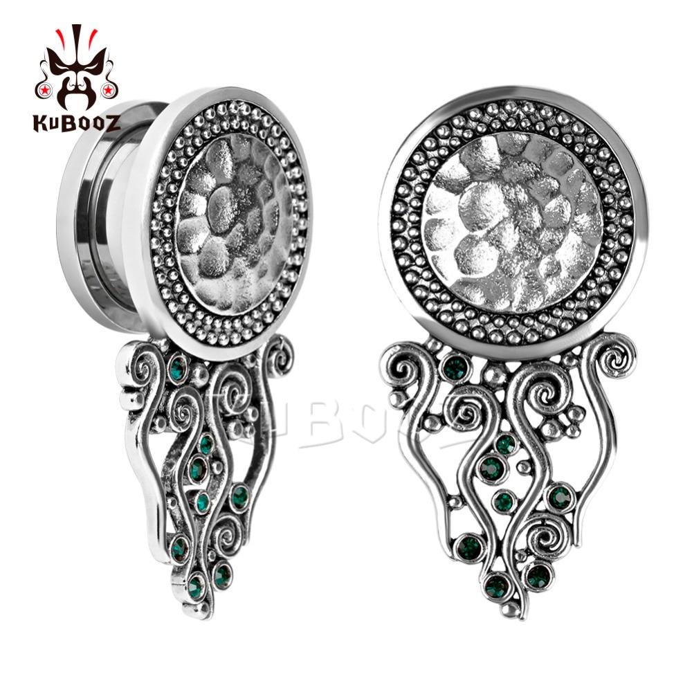 Kubooz piercing new arrival stainless steel ear plugs and tunnels screw back ear gauges earring body