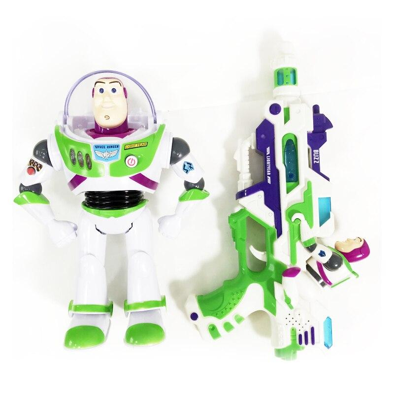 Disney Toy Story 4 figura de acción de Anime muñeca Buzz Lightyear lámparas de juguete Woody voces hablan inglés conjunto de juguetes móviles para niños