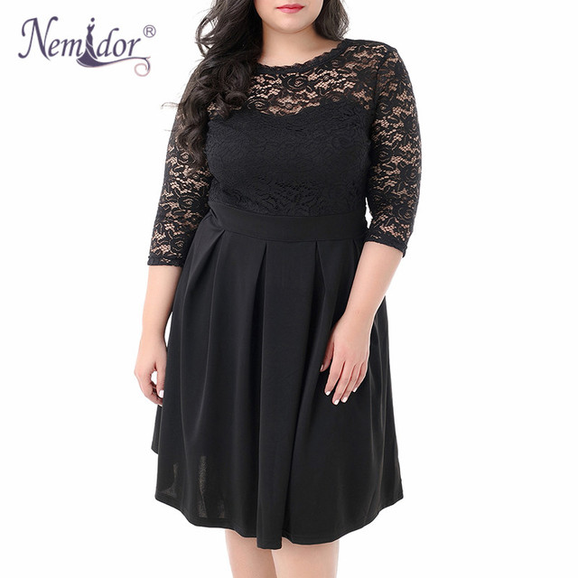 Women Vintage 3/4 Sleeve Casual Lace Top Overlay A-line Dress O-neck Plus Size 8XL 9XL V-low Back Party Midi Swing Dress 2