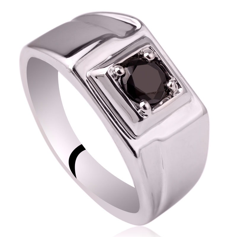 цена на Classic Rhodium Finish Men Sterling Silver 925 Ring 5.5mm Round Cubic Zirconia Jewelry Bijoux Homme Size 10 to 13 R500